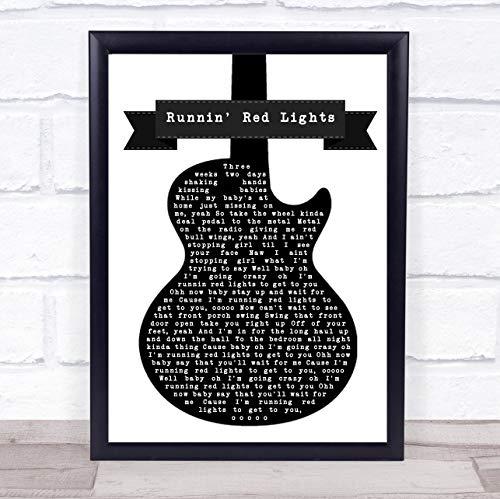 Fingerprint Designs Runnin' Red Lights Black & White Gitarre Songtext Zitat Musik Print Framed Brushed Gold Medium