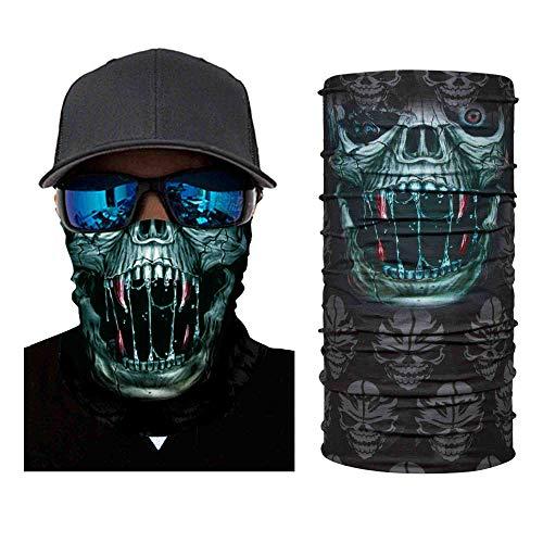 Atuka Multifunktionstuch 3D Sturmmaske Bandana Schlauchtuch Halstuch mit Totenkopf- Skelettmasken für Motorrad Fahrrad Ski Paintball Gamer Karneval Kostüm Face Maske (3#)