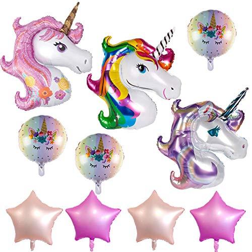 KRUCE Decoraciones de cumpleaños de Globos de Papel de Unicornio de 10 Paquetes, Globo de Papel de Unicornio Rosa Mylar para decoración de Suministros de Fiesta temática