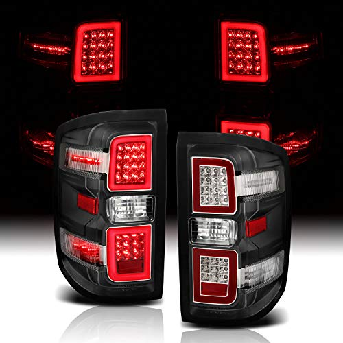AmeriLite for 2014-2018 Chevy Silverado 1500 2500 3500 GMC Sierra Black LED Light Tube Taillights Brake Lamp Pair - Driver and Passenger Side