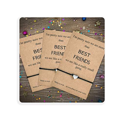 Tarsus Best Friend BFF Bestfriend - Juego de pulseras con dije de corazón para mujeres y niñas negro
