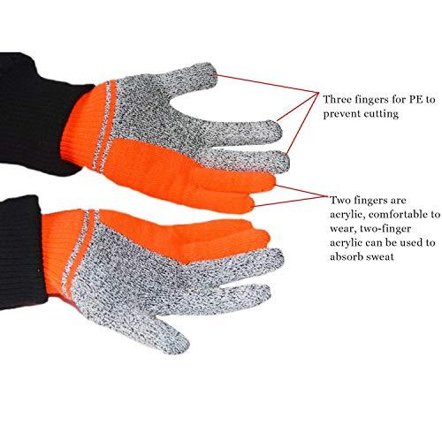 GROSSARTIG Cut Resistant Gloves- HPPE Cut-Proof Jacquard Gloves Safety Cutting Gloves for Hand Protection Best Use for Kitchen Outdoor Kitchen (Color : Orange)