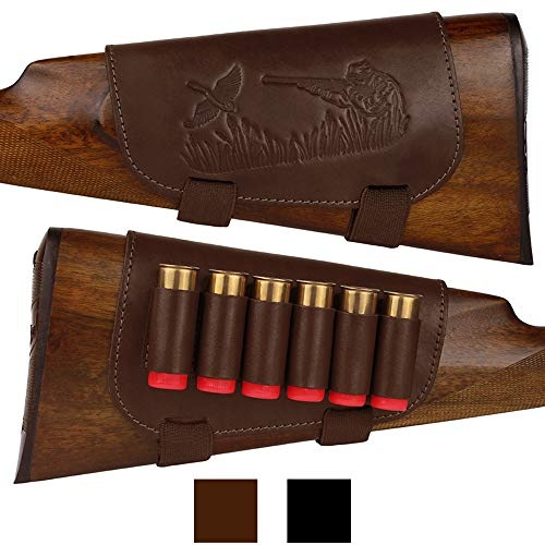 BRONZEDOG Genuine Leather Buttstock Ammo Holder Shotshell Carrier Hunting Ammo Pouch Shotgun Shell Cover 12 (16) Gauge Right Handed Black Brown (Brown)