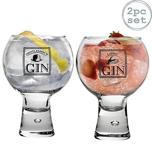 """Durobor Alternato - Kurzstielige Gin-Gläser - """"Ladies""""- & """"Gentlemen's""""-Motiv - mit Blase im Boden - 540 ml - Set mit 2 Stück"""