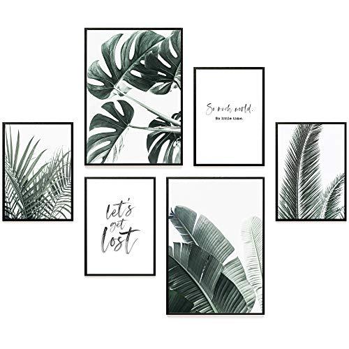 Heimlich® Premium Poster Set | Stilvolles Set mit passenden Bilder als Wohnzimmer Deko | 2 x DIN A3 & 4 x DIN A4 - ca. 30x42 & 21x30 | ohne Bilderrahmen » Palmen & Monstera «