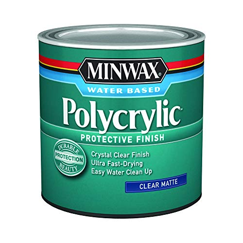 Minwax 222224444 Polycrylic Protective Finish Water Based, 1/2 pint, Matte