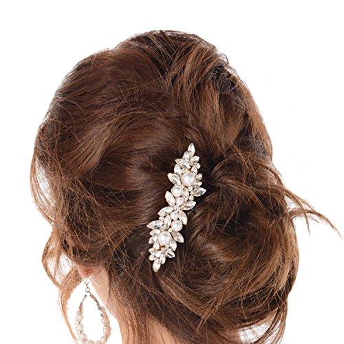 (ガール)GIRLパーティービジュー髪飾り大きめパールリーフバレッタヘッドドレスk-k-187(シルバー)