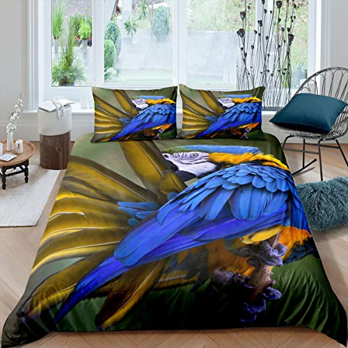 Loussiesd Parrot Print Bedding Set for Girls Boys Children Bright Blue Animal Comforter Cover Cute 3D Bird Duvet Cover Room Decor Nature Theme Bedspread Cover Super King Bedding Collection 3Pcs
