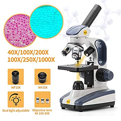 Swift Compound Monocular Microscope SW200DL with 40X-1000X Magnification, Dual Light, Precision Fine Focus, Wide-Field 25X Eyepiece and Cordless Capability for Student Beginner