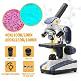 Swift SW200DL Compound Monocular Microscope with 40X-1000X Magnification, Dual Light, Precision Fine Focus, Wide-Field 25X Eyepiece, Carrying Handle, and Cordless Capability (Dual-Light Edition)