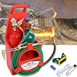 Professional Oxygen Acetylene Torch Kit Oxy Cutting Torch Kit with Tank Portable Welding/Cutting/Brazing Outfit (Red)