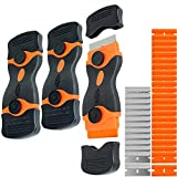 3 Pack Double Edge Razor Blade Scraper Set with 36 Pcs Replacement Scraper Blades, Multi-Purpose Scraper Cleaning Tool for Scraping Labels, Decals, Stickers, Paint from Glass, Stovetop, Subfloor