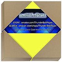 明るいネオンイエロー蛍光色カードストック 250枚 - 4インチ x 4インチ (4x4インチ) 小さな正方形サイズ - 65ポンド/ポンド 軽量カード重量カバーペーパー - 高品質印刷可能な滑らかな表面シート