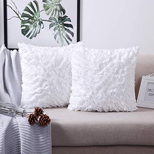 "Throw Pillow Covers Classic Farmhouse Decorative 20/"" x 20/"" White Set of 2"