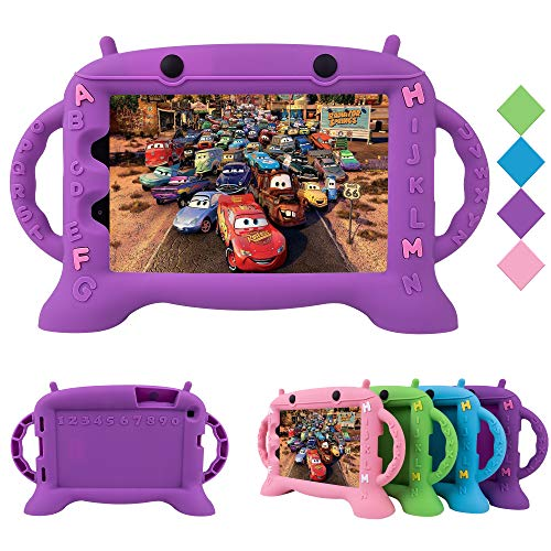 CHIN FAI Kids Case for Samsung Galaxy Tab A 8.0 2019 T290 T295, Shockproof Silicone Handle Stand Protective Cover for Galaxy Tab A 8.0 Inch 2019 Without S Pen Version (Purple)