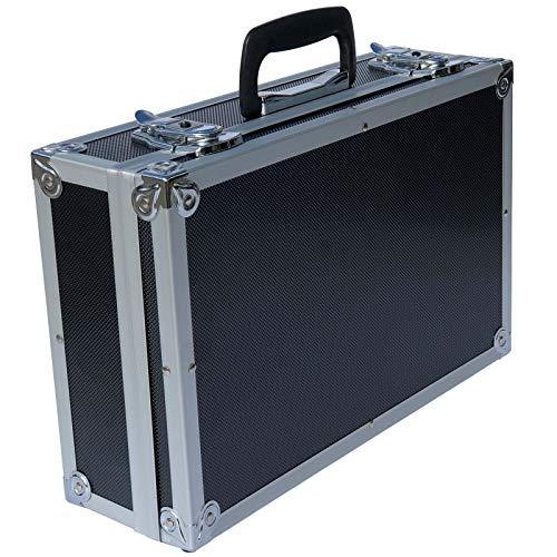 ECI® Aluminium Koffer Schwarz mit Würfelschaum Leer-Koffer Alukoffer Alu Box Werkzeugkoffer LxBxH 400 x 250 x 115 mm