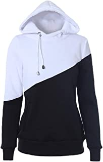 Women Hoodie Sweatshirt Long Sleeve Spliced Color Casual Pullover Tops with Pocket 🐧LONGDAY Basic Lightweight Pullover