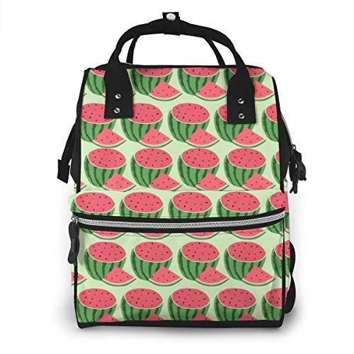 Mochila para pañales, multifuncional, para viaje, para guardar pañales, mochila para pañales para bebés, gran capacidad y resistente al agua, diseño elegante, sandía, verano y frutas