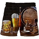YNYEZBH Barril de Madera Taza de Cerveza Pantalones Cortos de Verano 3D para Estudiantes Deportes Pantalones de Secado rápido Pareja Pantalones Cortos de natación en la Playa