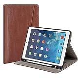 GSHINE iPad 第7世代 タブレットレザーケース (10.2インチ 2019年発売) 内蔵ハンドストラップ ペンスロットがあり 二層フルボディ耐衝撃性 頑丈な保護ケース デュアルレイヤーフルボディiPad 10.2第7世代用 ブラウン