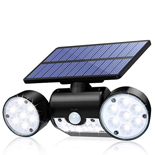 xxz Solar Lights Outdoor, Motion Sensor Security Wireless Wall Dual Head Spotlights 360° Adjustable IP65 Waterproof, for Porch Yard Garage Pathway