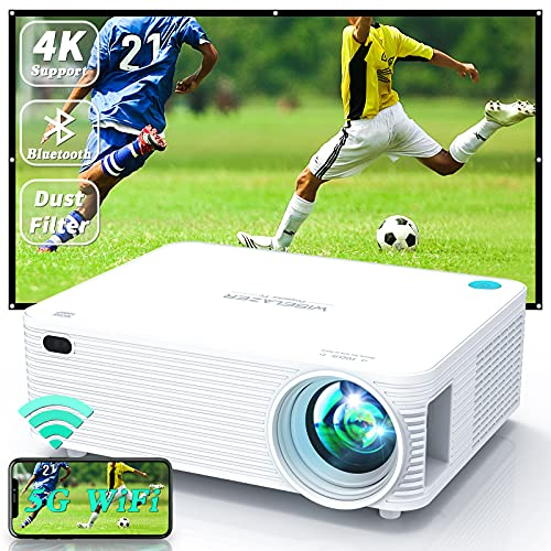 WISELAZER Outdoor Projector WiFi Bluetooth 4k Projector 9500Lm Native 1080P, Built-in Dust Filter, LED Home Cinema HD Projector , Compatible with Smartphone, PC, TV Box, HDMI, USB