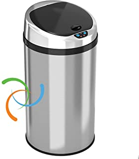 iTouchless Round Touchless Sensor Kitchen Trash Can with Odor Control System, Stainless Steel, Round Garbage Bin for Home ...