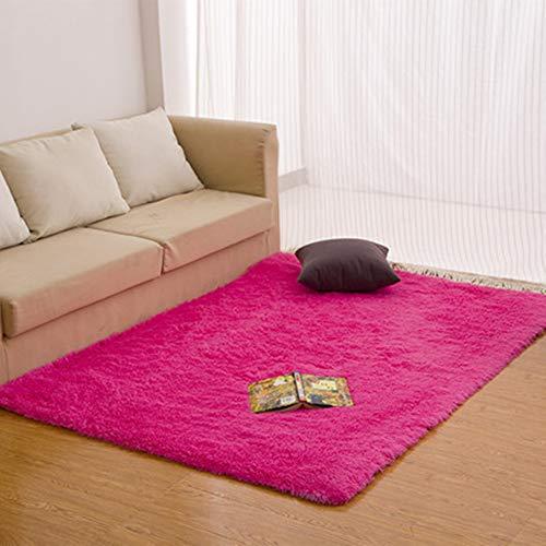 Morbuy Tapete Rectángulo Felpudos Alfombra Hogar Antideslizante Alfombras Piso Moqueta Mats Pad para Habitación (60 * 90cm, Rosa roja)