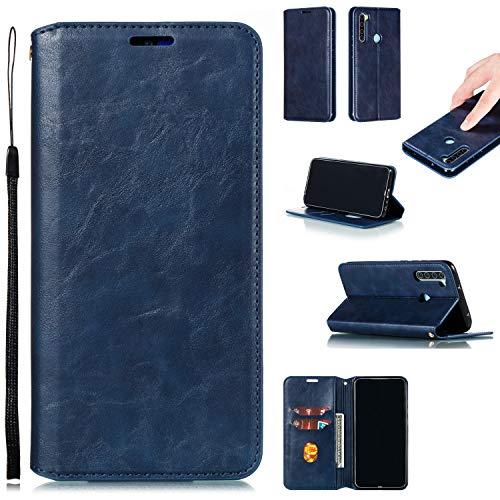 LODROC Xiaomi Redmi Note 8 Hülle, TPU Lederhülle Magnetische Schutzhülle [Kartenfach] [Standfunktion], Stoßfeste Tasche Kompatibel für Xiaomi Redmi Note8 - LOYKB0200479 Blau