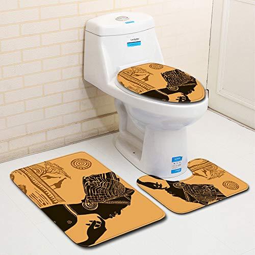 MANNUOSI Nuevo Alfombrillas de baño Suave Antideslizante alfombras de baño Mujer Africana 3 Piezas Alfombra de Contorno en Forma de U y Cubierta del Asiento del Inodoro