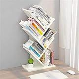 LZYMSZ Tree Bookshelf, 4-Tier Floor Standing Bookcase, Free-Standing Book Holder Organizer, Book, CD, Albums,Files Holder, Display Storage Rack for Home, Office (White)