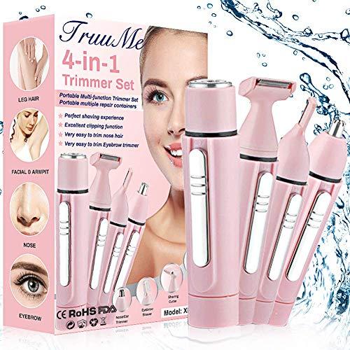 Gesichtshaarentferner für Frauen,Haarentfernung Gesicht Damen,Haarentferner für Frauen,4 in 1 Haarentfernung für Körper, Nase, Gesicht und Augenbrauen,Schmerzloser Haarentfernung