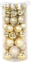 66 Pcs Christmas Shatterproof Balls Ornament Hanging Pendant Christmas Tree Decoration Xmas Baubles Gold