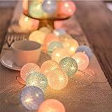 Bolas de algodón con luces de hadas de 3 m, 20 ledes, cadena de luces decorativas para dormitorio, boda, hogar, Navidad, Halloween, jardín (macarones)