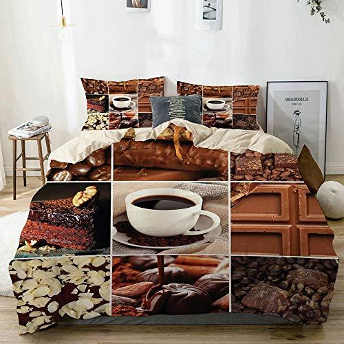 Totun Juego de Funda nórdica Beige, marrón café, Chocolate, Estampado de Cacao, Decorativo, Juego de Cama de 3 Piezas con 2 Fundas de Almohada, fácil Cuidado, antialérgico, Suave, Suave