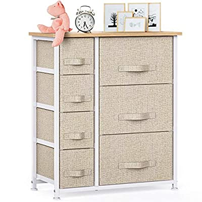 7 Drawer Fabric Dresser Storage Tower, Dresser Chest with Wood Top and Easy Pull Handle, Organizer Unit for Closets, Bedroom, Nursery Room, Office by Pipishell
