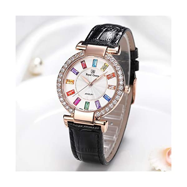 RC Royal Crown Women's Quartz Watch Fashion Leather Rose Gold-Tone Bangle Watch Jewelry Waterproof Wrist Watches