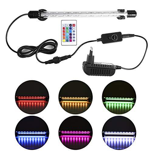 NO.17 LED-Tauchlampe für Aquarium, Neueste 240 ° RGB-Unterwasser-LED-Aquariumlampe mit Fernbedienung, 5050 SMD 24 LED-Aquariumlampe, IP68, 11.6W