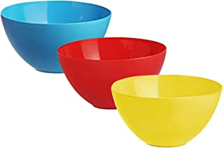 Heart Home Plastic Microwave Safe 3 Pieces Mixing Bowl Set- 1500 ML (Multi) - CTHH16455