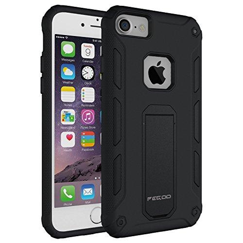 Custodia iPhone 6,Pegoo Cover iPhone 6 Ultra Slim armatura antiurto Copertura Cassa Custodia Silicone cover Case supporto stabile Protettiva Shell per apple iphone 7 6 6S (Nero)