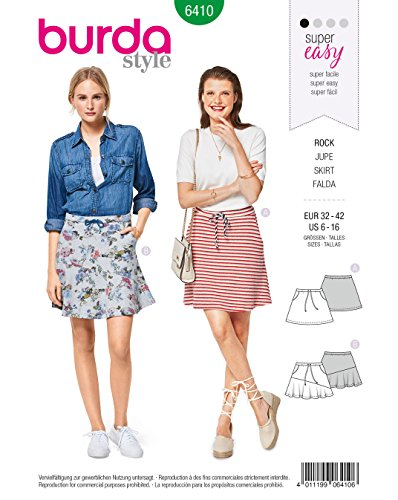 Burda 6410 Schnittmuster Ausgestellter Rock (Damen, Gr. 32-42) Level 1 super Easy