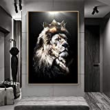 GHHZZQ Modern Animal Art Lion Head with Crown Canvas Paintings Posters and Prints Wall Art Pictures for Living Room Decor (Ready to hang,16x24inch)