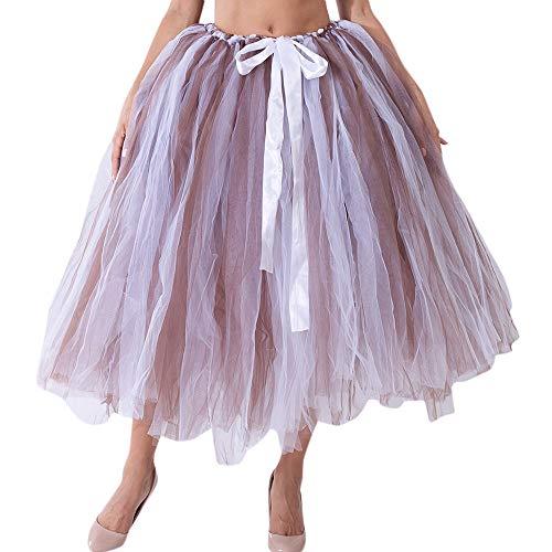 ZEELIY Frauenkleidung Mesh-Tüll Schmetterlingsfest Tutu Brautjungfer Prinzessin Kleid Blase Rock Umstandsrock (Freie Größe, Kaffee)
