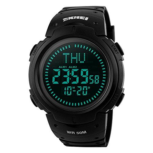Men's Military Sports Digital Watch Survival Compass LED Screen Large Face 50M Waterproof Stopwatch Alarm Wristwatch (Black)