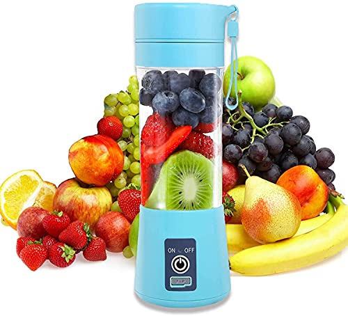 Portable Blender, Mini Personal Blender Chopper 380ML, Small Fruit Mixer, USB Rechargeable 1400mAh, Shakes Smoothies Maker for Home Office Travel, Juicer Cup Bottle with Lid, Six Blades in 3D Blue