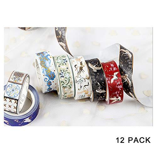 Hot stempelen en papier tape, lijm gips dat rijk aan Chinese cultuur, dikte 0,05 mm/0,002 in, voor merk, pakket, DIY handwerk, Gift-12 Pack(5mx15 mm/16.4ftx0.6in)