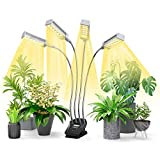 VOGEK LED Plant Grow Light, Growing Lamp Full Spectrum for Indoor Plants with display screen Timer, Four Head Growing Light for Seedlings with Adjustable Gooseneck, 4 Switch Modes