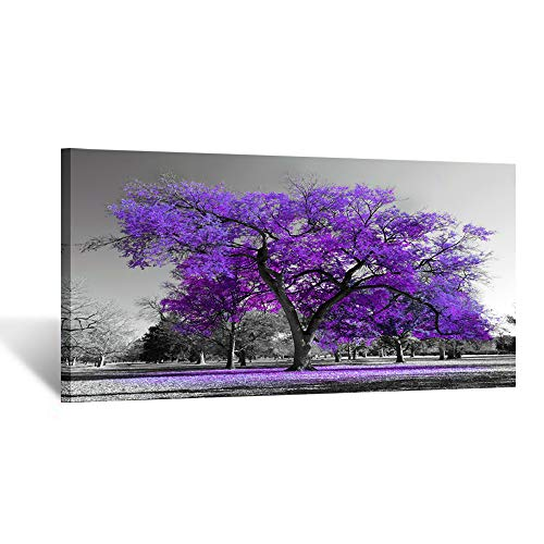 Kreative Arts Canvas Prints Purple Tree Framed Wall Art Big Tree Landscape Contemporary Picture for Home Decoration Office Wall Decor Ready to Hang 20x40inch