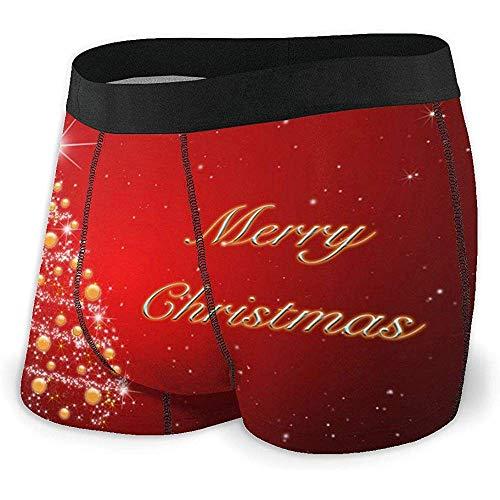 NA Ropa Interior Calzoncillos Boxer para Hombre Calzoncillos Brillantes Árbol de Navidad con balón Calzoncillos...
