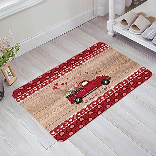 Alfombra estera del piso Tapetes Felpudo Retro Wood Grain Old Fashion Truck Cargas de amor Oh Valentine 's Day alfombras 40X60CM